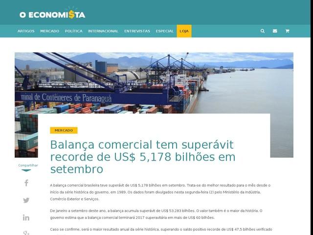 Balança comercial tem superávit recorde de US$ 5,178 bilhões em setembro