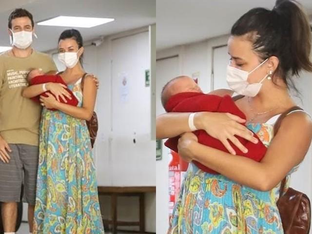 Talita Younan e João Gomez deixam maternidade com a primeira filha do casal
