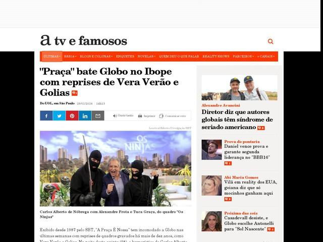 """""""Praça"""" bate Globo no Ibope com reprises de Vera Verão e Golias"""