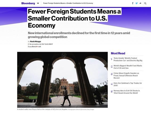 'Bloomberg': Corte em programas estudantis no Brasil e Arábia Saudita afeta receita dos EUA