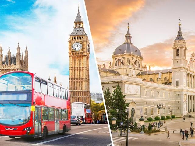 Passagens 2 em 1 para Madri mais Londres ou Paris na mesma viagem a partir de R$ 2.179!
