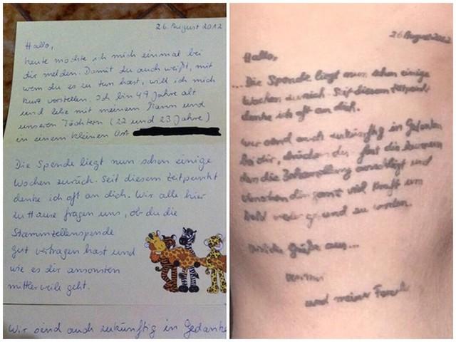 Jovem tatua carta que recebeu de doadora de medula óssea da Alemanha: 'Minha história devo a você'