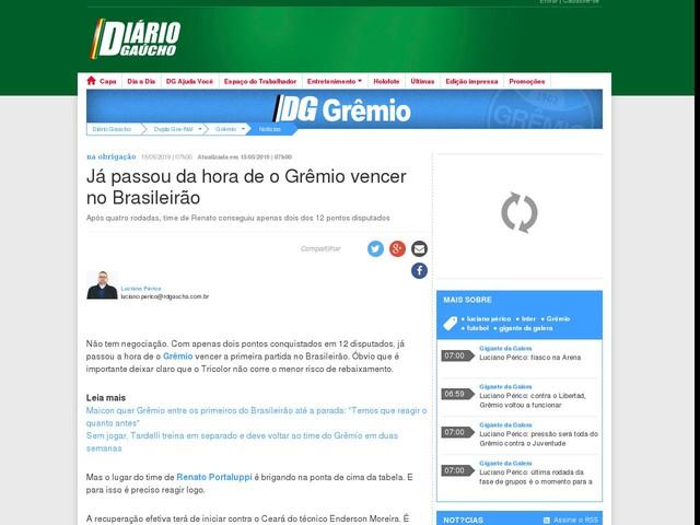 Já passou da hora de o Grêmio vencer no Brasileirão