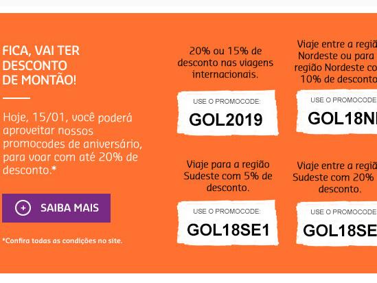 Só hoje! Aniversário da GOL tem cupons com até 20% de desconto em voos nacionais e internacionais!