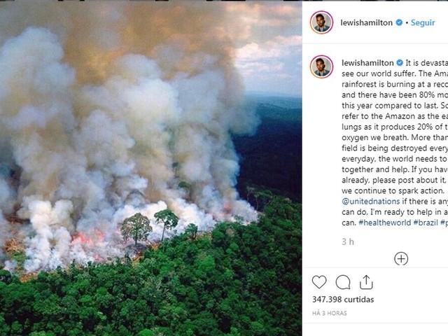 CR7, Lewis Hamilton, Mbappé e outros atletas protestam contra incêndio na Amazônia
