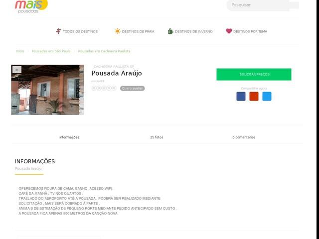 Pousada Araújo - Cachoeira Paulista - SP
