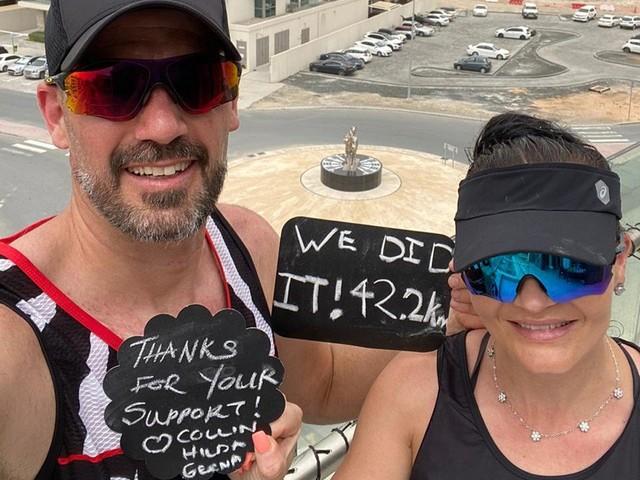 Casal completa em Dubai maratona de 42 km em varanda de 20 metros