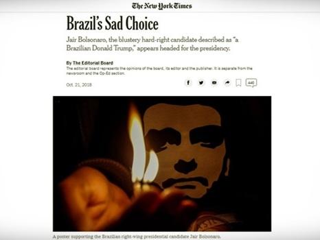 """""""Triste escolha"""", diz editorial do New York Times sobre Bolsonaro"""
