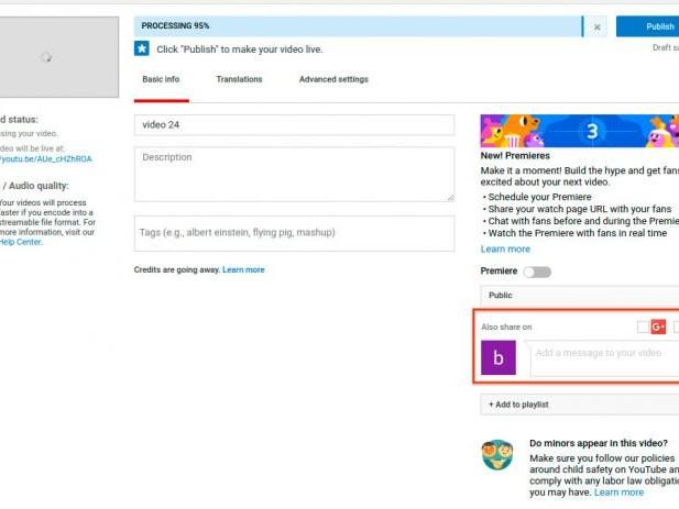 YouTube remove compartilhamento automático com Twitter e Google+