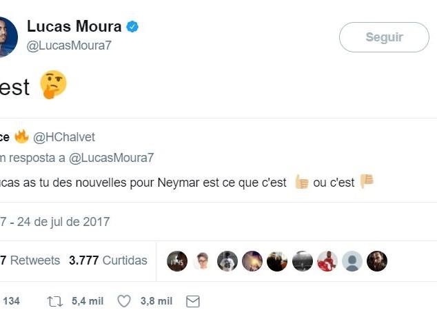 Questionado sobre Neymar, Lucas responde com emoji pensativo