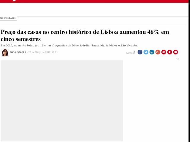 Preço das casas no centro histórico de Lisboa aumentou 46% em cinco semestres