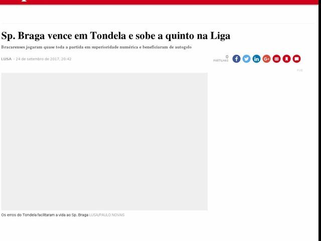 Sp. Braga vence em Tondela e sobe a quinto na Liga