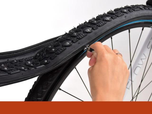 E se trocar os pneus de uma bicicleta fosse tão fácil como apertar um casaco?