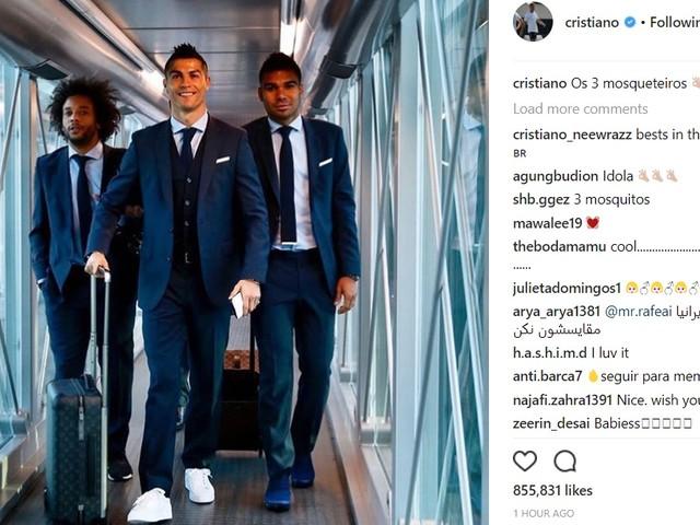 """CR7 exalta boa relação com Marcelo e Casemiro em foto: """"os 3 mosqueteiros"""""""
