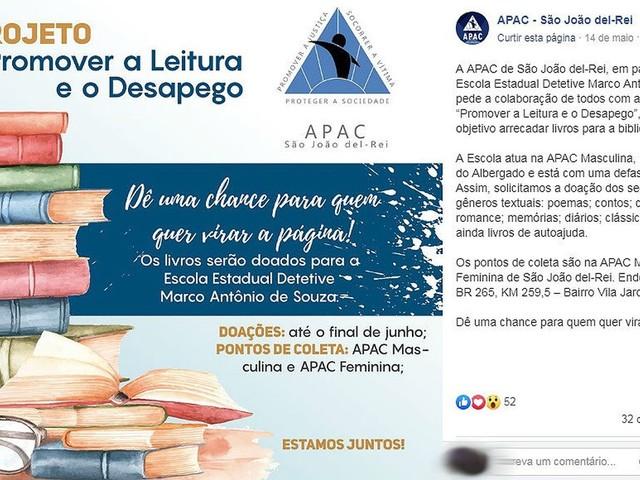 Campanha incentiva doação de livros para escola que funciona na Apac de São João del Rei