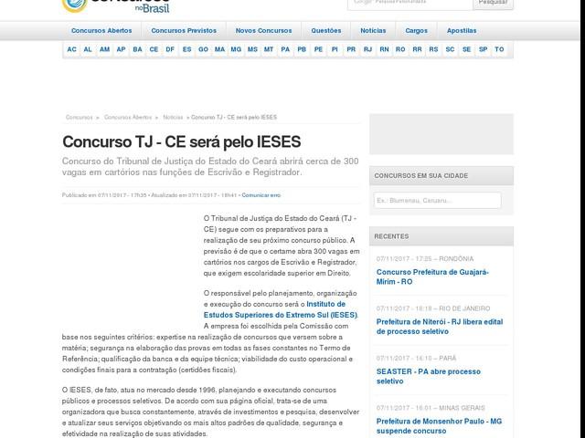 Concurso TJ - CE será pelo IESES