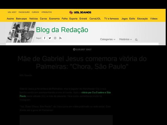 """Mãe de Gabriel Jesus comemora vitória do Palmeiras: """"Chora, São Paulo"""""""