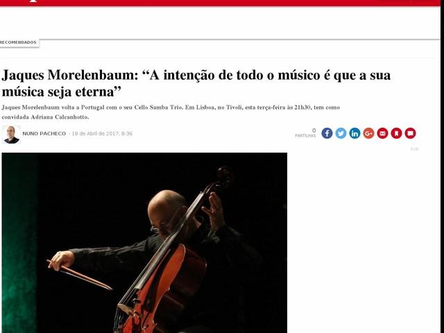 """Jaques Morelenbaum: """"A intenção de todo o músico é que a sua música seja eterna"""""""
