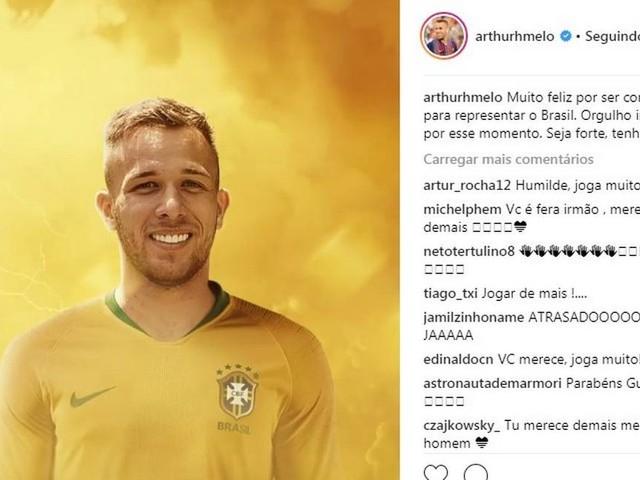 Preterido na Copa, Arthur festeja convocação: 'Orgulho imenso'