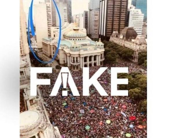 É #FAKE mensagem que diz que imagem de protesto no Rio é falsa porque mostra prédio desabado
