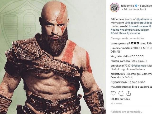 Felipe Melo, o Kratos do Palmeiras, faz graça na internet