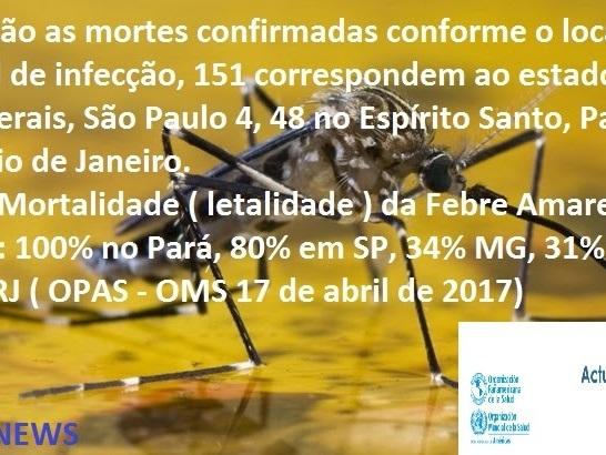 Taxa de Mortalidade da Febre Amarela por estados : 100% no Pará, 80% SP, 34% MG, 31% ES e 20% no RJ
