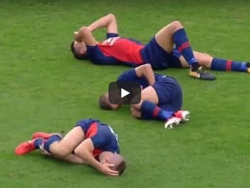 Durante um jogo de futebol na Hungria, time perde 3 jogadores em um único lance