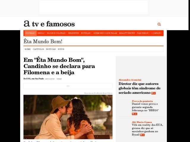 """Em """"Êta Mundo Bom"""", Candinho se declara para Filomena e a beija"""