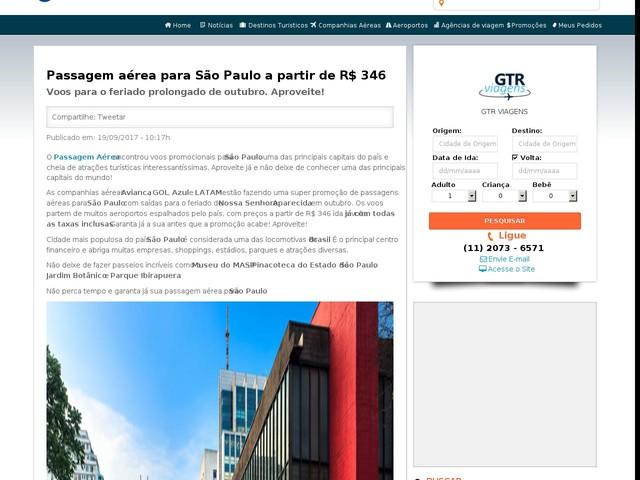 Passagem aérea para São Paulo a partir de R$ 346