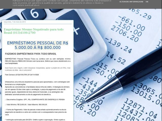 Empréstimo Mesmo Negativado para todo Brasil (013)4106-2790