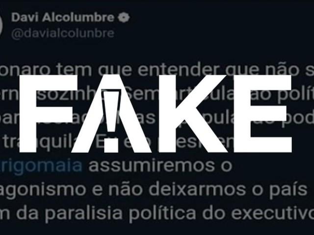 É #FAKE post atribuído a presidente do Senado que diz que Bolsonaro acabará isolado e que ele e Maia assumirão protagonismo
