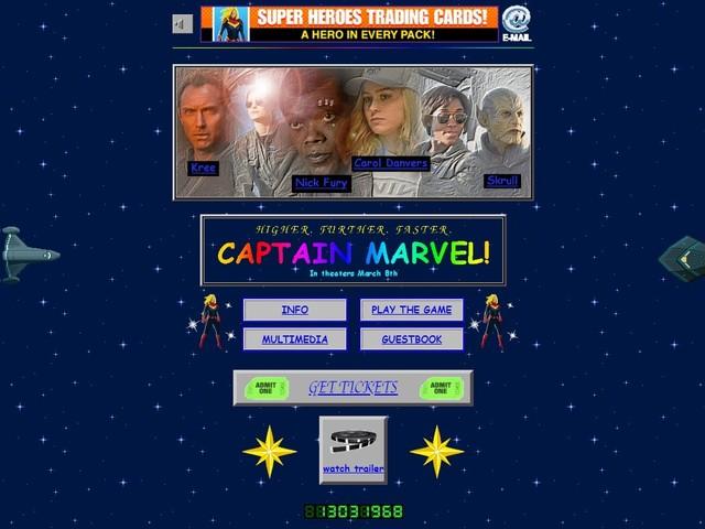 """Site oficial de """"Capitã Marvel"""" é uma grande homenagem à cafonice da internet dos anos 90"""