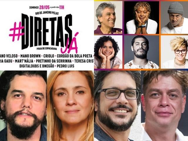 Artistas convocam para grande ato das Diretas Já no Rio de Janeiro