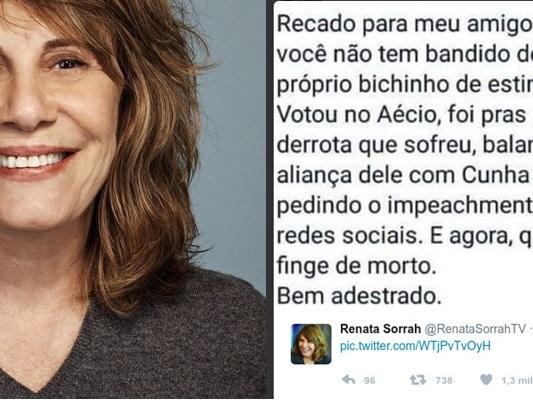 Texto atribuído à Renata Sorrah causa indignação nos 'coxinhas'