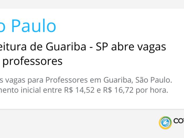 Prefeitura de Guariba - SP abre vagas para professores