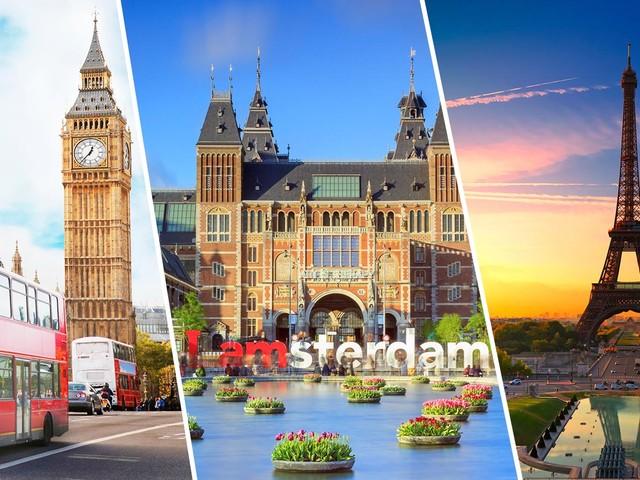 Europa 3 em 1! Passagens para Paris mais Londres e Amsterdã na mesma viagem a partir de R$ 2.276!