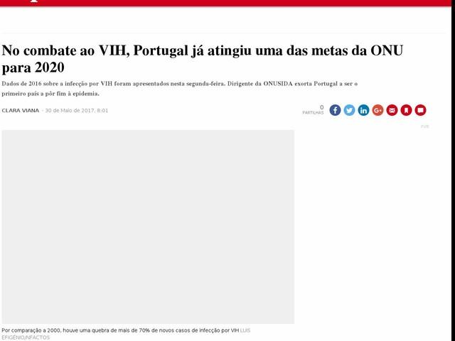 No combate ao VIH, Portugal já atingiu uma das metas da ONU para 2020