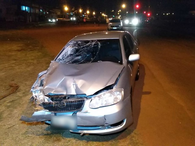 Motorista abandona carro e foge após colisão matar motociclista em Dourados, MS