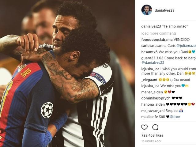 """Daniel Alves posta foto consolando Neymar: """"te amo irmão"""""""