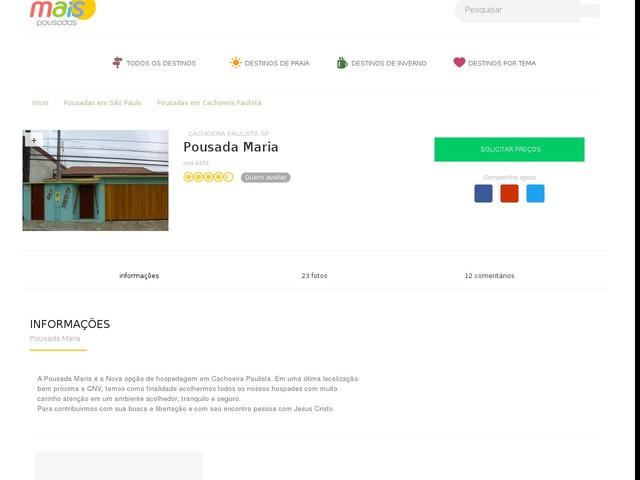Pousada Maria - Cachoeira Paulista - SP