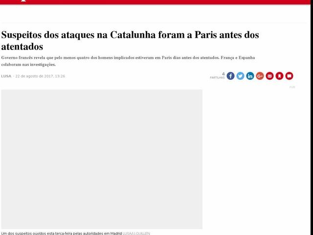 Suspeitos dos ataques na Catalunha foram a Paris antes dos atentados