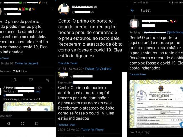 """Bolsonaristas usam fake news do """"primo do porteiro"""" para desacreditar coronavírus"""