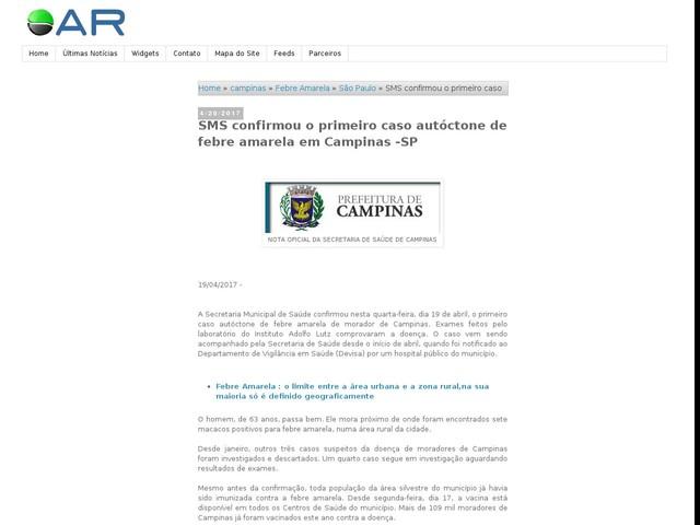 SMS confirmou o primeiro caso autóctone de febre amarela em Campinas -SP