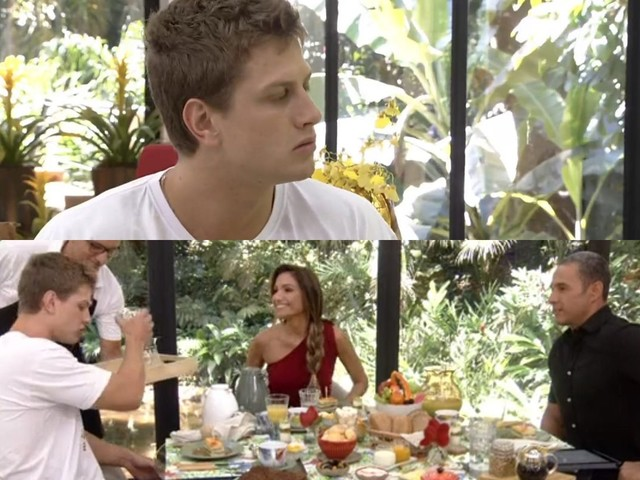 """Após polêmica no BBB20, Lucas recebe apenas água de Patricia Poeta em seu café da manhã no Mais Você: """"Tô no lucro"""""""
