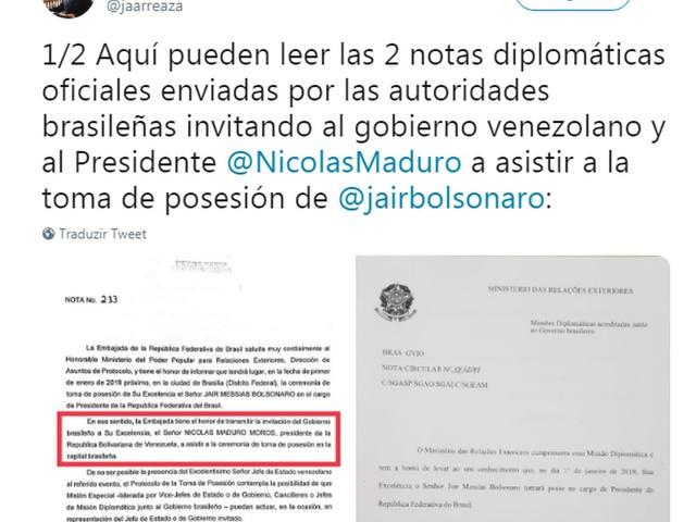 Venezuela contradiz futuro ministro e diz que Brasil convidou Maduro para posse de Bolsonaro