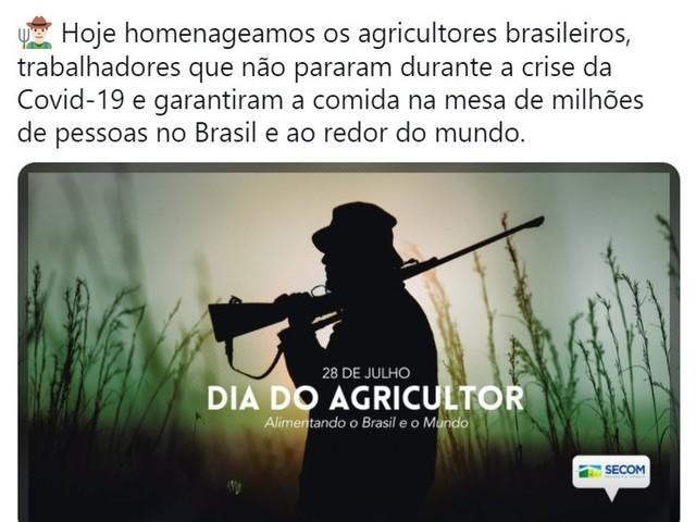 Dia do Agricultor: Post do governo Bolsonaro gera revolta até entre conservadores