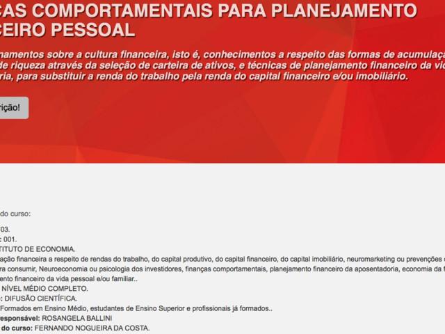 Curso de Extensão: Finanças Comportamentais para Planejamento Financeiro Pessoal