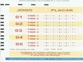 Lotogol 899 programação grade dos jogos