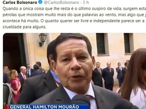 Carlos Bolsonaro volta a atacar Mourão e agrava crise no Planalto