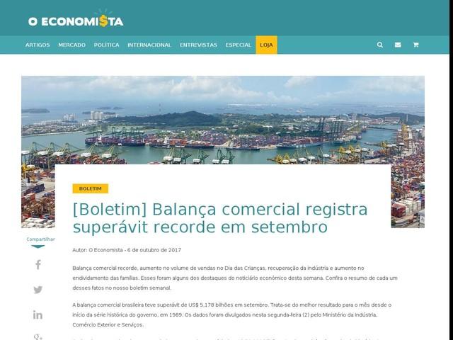 [Boletim] Balança comercial registra superávit recorde em setembro